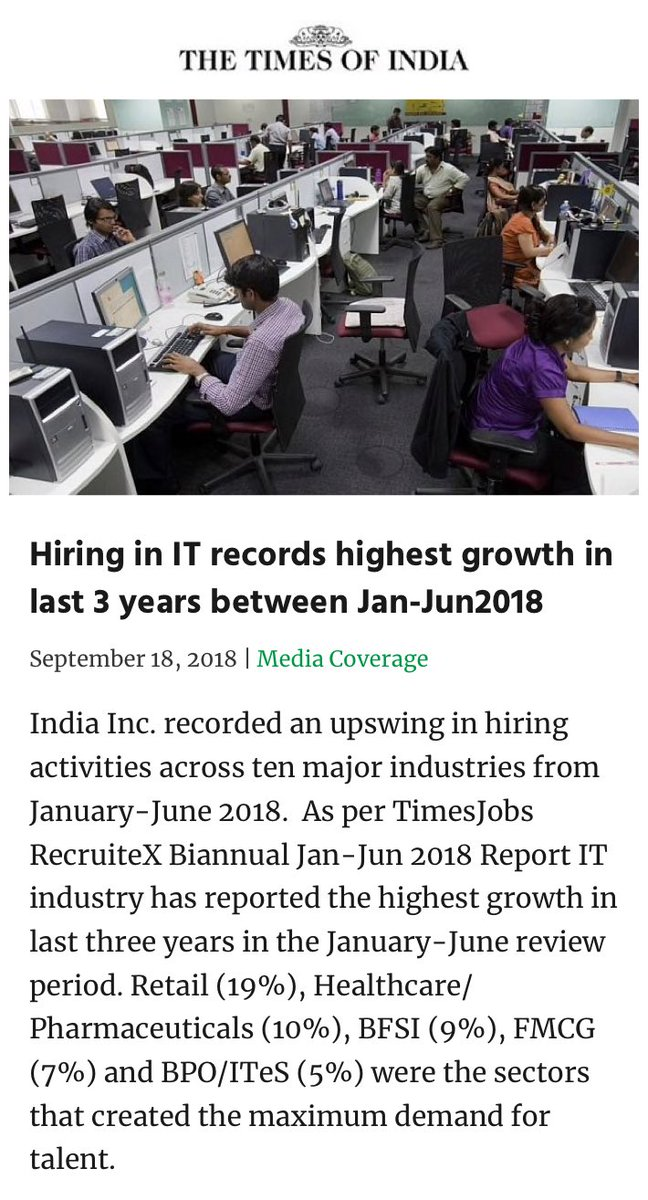 Hiring in IT records highest growth in last 3 years between Jan-Jun2018 timesofindia.indiatimes.com/articleshow/65… via NaMo App