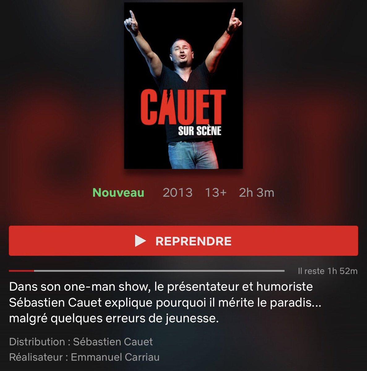 Les amis je suis super fier d'être sur @NetflixFR avec mon premier one man show #CauetSurScene !! Ce soir je me regarde 😂 Le prochain #OneMan arrive en rodage dans toute la France 😘