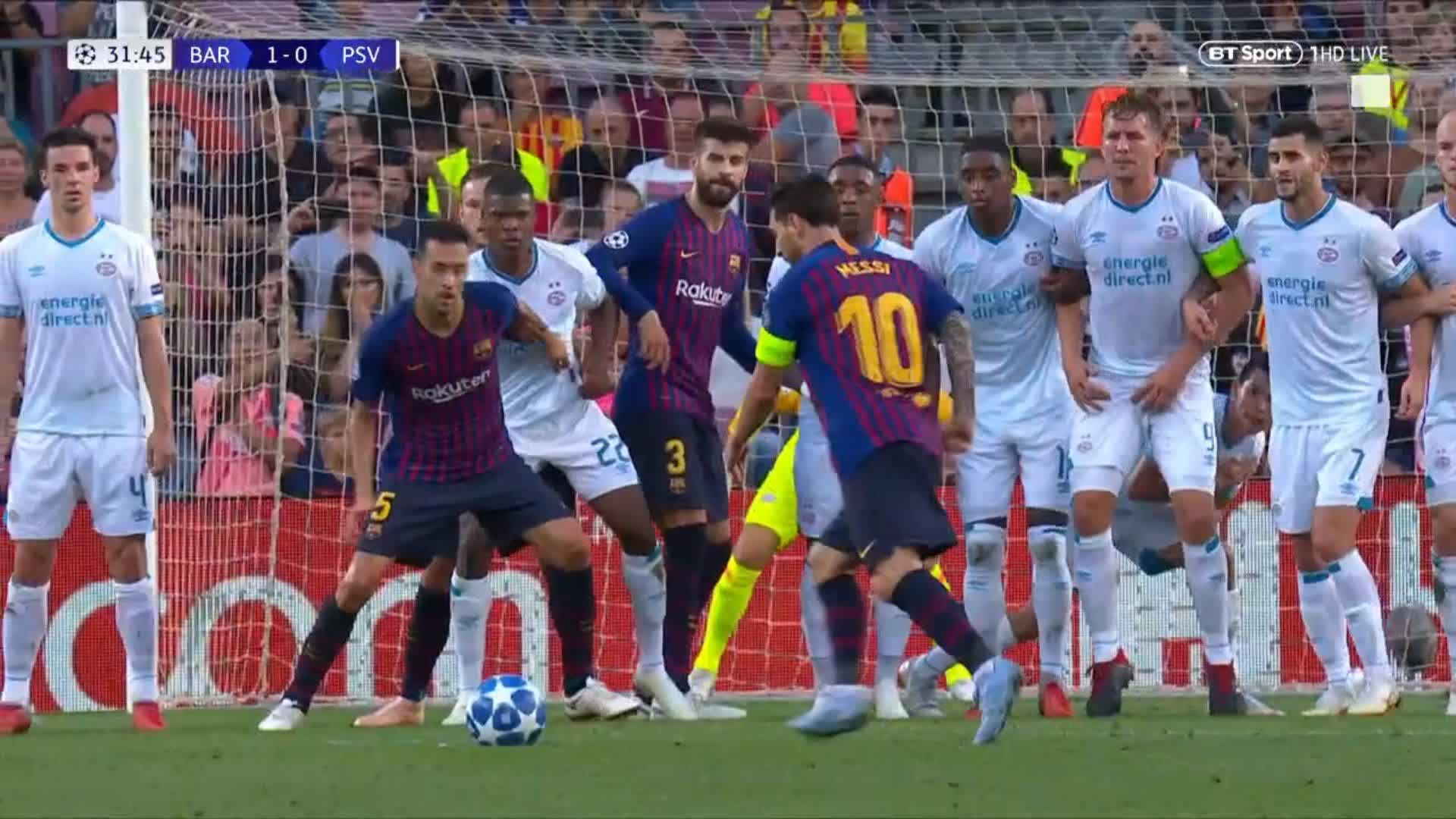 Lionel Messi. Free-kick. 25 yards out...  Top corner ��  We really are running out of words to describe this man! https://t.co/YDkIZ6XiL5