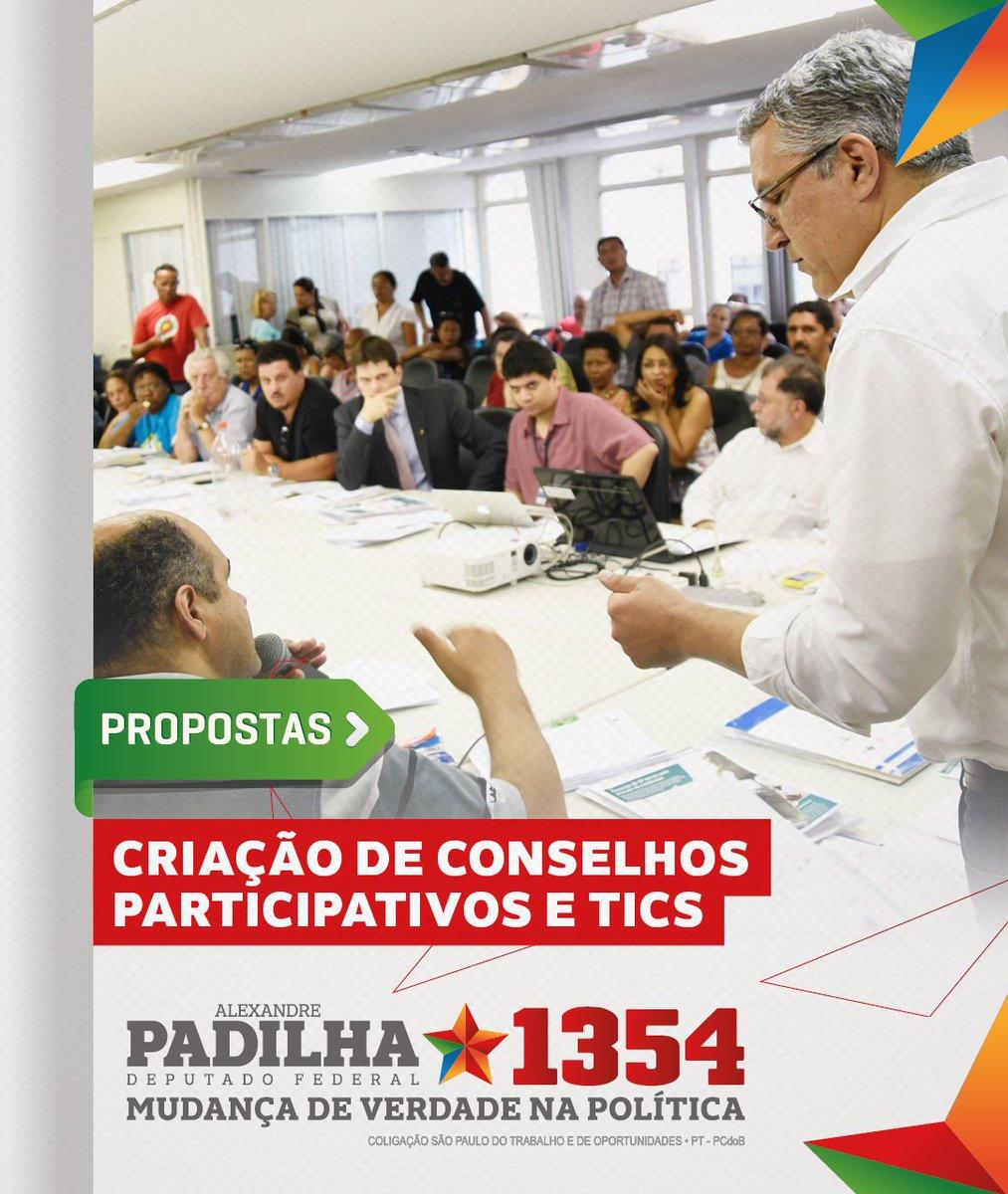 Como deputado federal, defenderei a aprovação de leis que obriguem a existência de conselhos participativos. Além disso, lutarei pelo uso de TICs (Tecnologia de Informação e Comunicação). Vamos lutar por um Brasil feliz de novo. #HaddadÉLula #Padilha1354 #MudançaDeVerdade