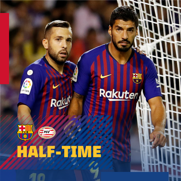 ⏰ At the break at Camp Nou! FC Barcelona 1-0 PSV ⚽ Leo #Messi ���� #ForçaBarça #BarçaPSV https://t.co/gCXhnM77uh