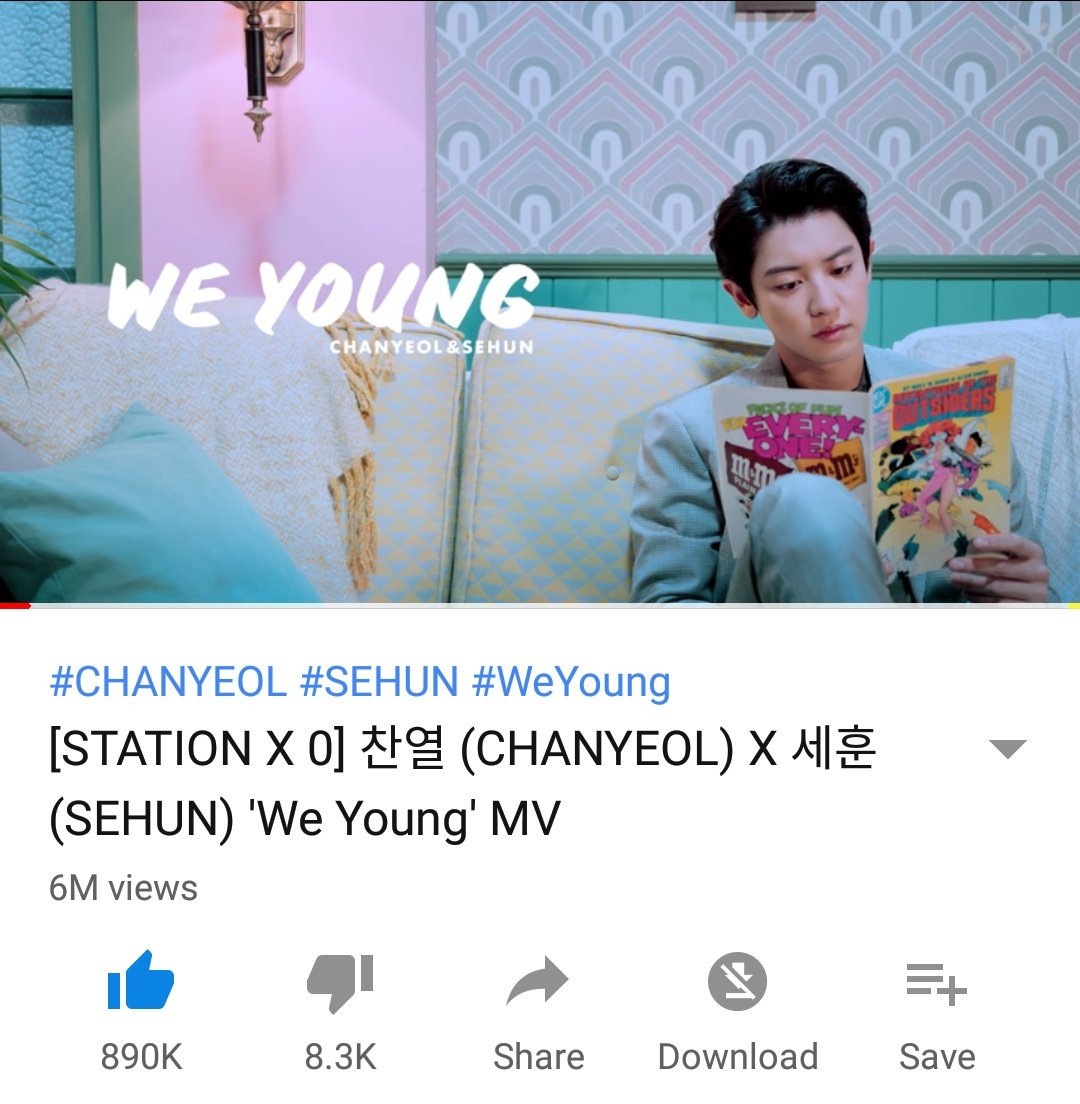 &#39;We Young&#39; has hit 6M views with 890k likes Oh and did we mention? It has even surpassed the likes of EXO&#39;s Dancing King in less than 5 days!  We are so proud &amp; happy! Let&#39;s continue streaming and supporting them   :  https:// youtu.be/3EgY4Arwv9E  &nbsp;    @weareoneEXO #CHANYEOL #찬열<br>http://pic.twitter.com/eeG4LkHT4h