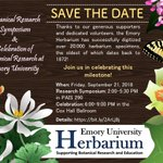 SAVE THE DATE: The @EmoryHerbarium is celebrating the successful digitization of over 20,000 herbarium specimens. Botanical Research Symposium & Celebration: Fri., Sept. 21. https://t.co/lPXBMtAMBE cc @QuaveEthnobot