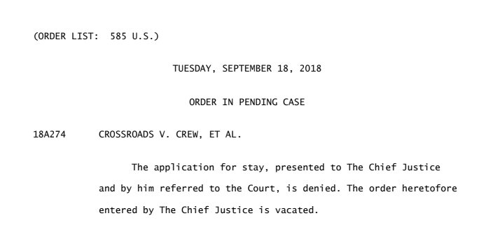 BREAKING: The Supreme Court DENIES the stay requested by Crossroads GPS in its challenge to keep donors secret, vacating the stay entered by Chief Justice Roberts over the weekend.