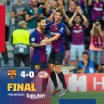 ⏰ All over!⚽ FC Barcelona 4-0 PSV👟 Leo #Messi x3 & O. Dembélé🔵🔴 #ForçaBarça #BarçaPSV