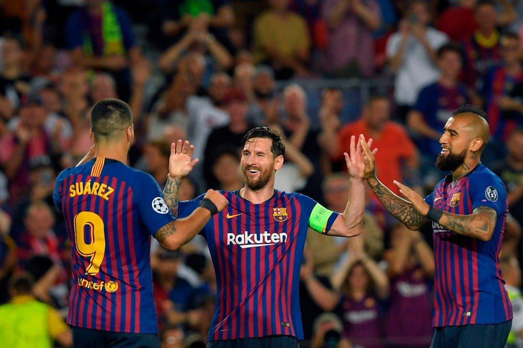 Lionel Messi scores his eighth Champions League hat trick, breaking a tie with Cristiano Ronaldo for most in the competition's history.  Messi's 16 Matchday 1 goals are the most in Champions League history as well.