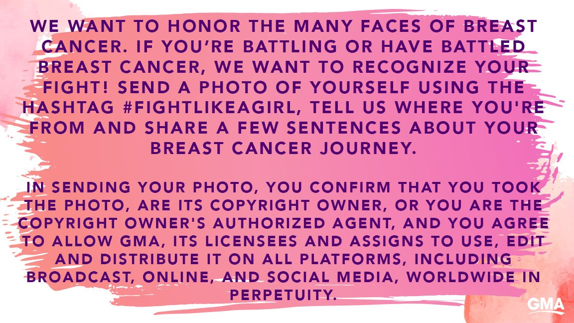 We want to honor the many faces of breast cancer. If you're battling or have battled breast cancer, we want to recognize your fight! Tweet us a photo of yourself, tell us where you're from and share a few sentences about your breast cancer journey using hashtag #FightLikeAGirl