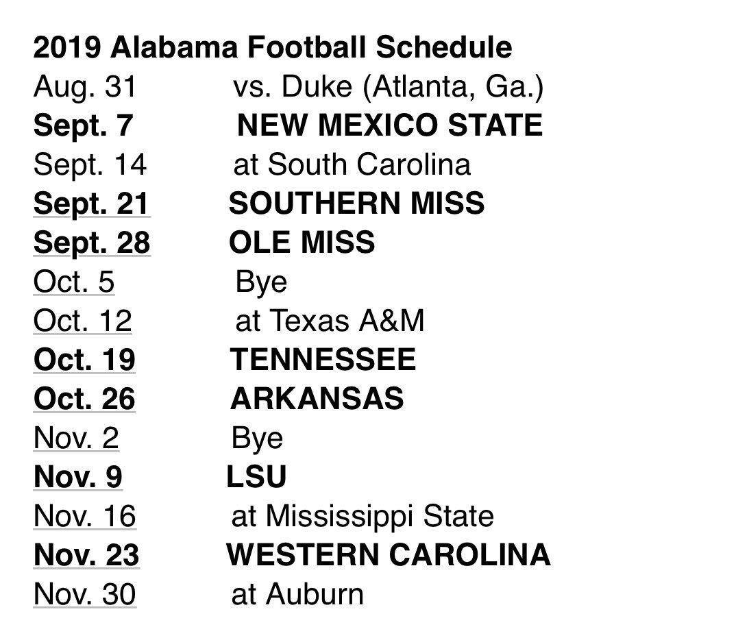 Alabama Football Schedule 2019 Scott Theisen on Twitter: