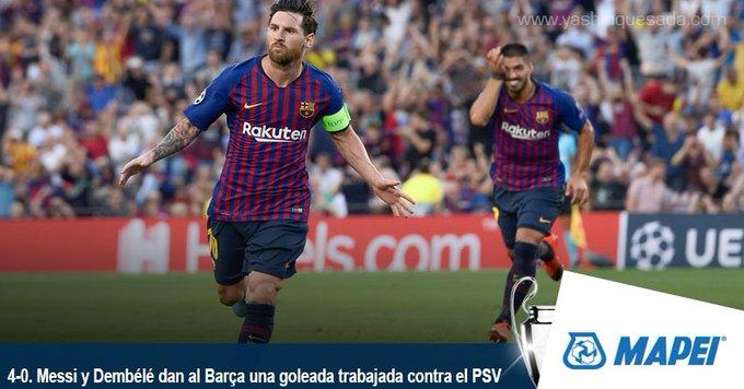 #UCL El FC Barcelona se dio un paseo ante el equipo del Chucky Lozano Photo