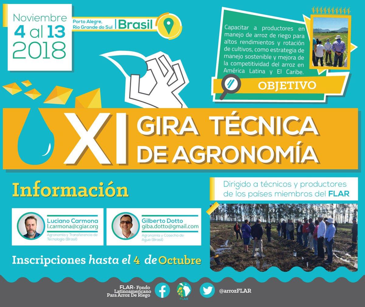 """FLAR على تويتر: """"#Agronomía Técnicos y productores de los países miembros  del FLAR, recuerden que hasta octubre tendremos abiertas las inscripciones  a la XI ..."""