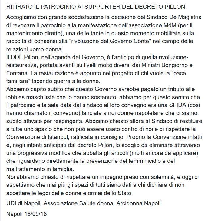 Grazie @demagistris !Revocato il patrocinio del Comune di Napoli al convegno del 22 Settembre sul ddl #Pillon #NoDdlPillon e niente spazi istituzionali né patrocini a ddl a rischio d\
