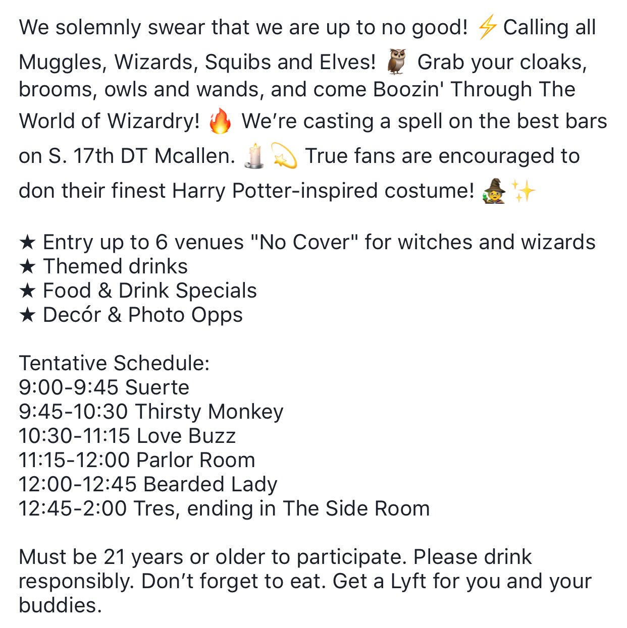 Suerte Bar Grill On Twitter We Solemnly Swear That We Are Up To No Good Calling All Muggles Wizards Squibs Elves Grab Your Cloaks Brooms Owls And Wands And