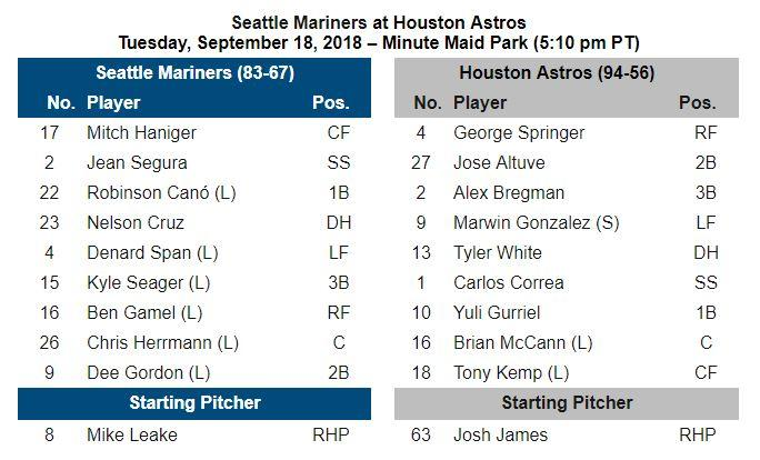 #Mariners Gameday Info - September 18 at #Astros. Lineups, Game Notes & More: atmlb.com/2MKEP1j