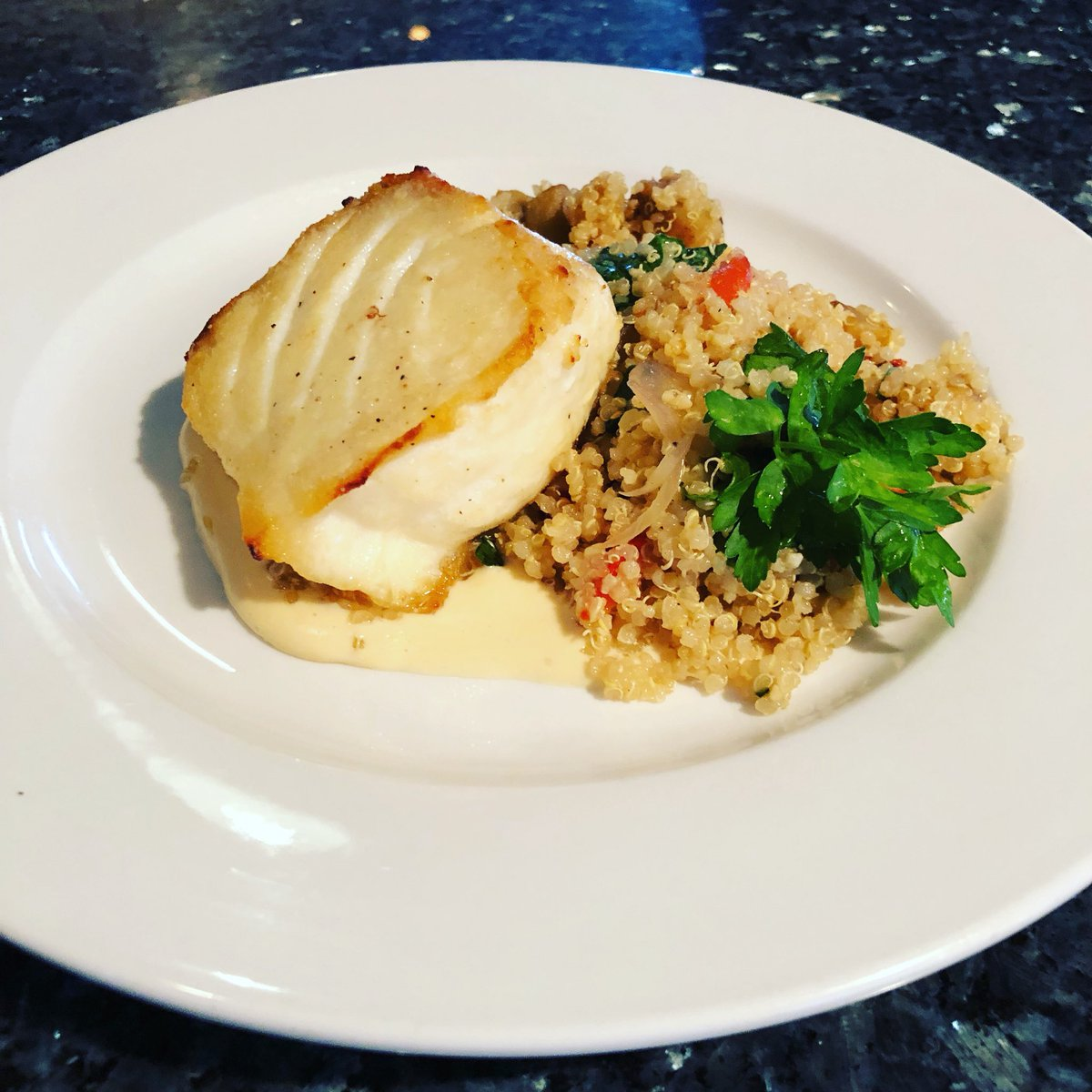 Halibut•Mediterranean Quinoa•Roasted Red Peppers•Eggplant•Spinach•Smoked Gouda Cream Sauce. #Delicious #Special https://t.co/IukZderh1q