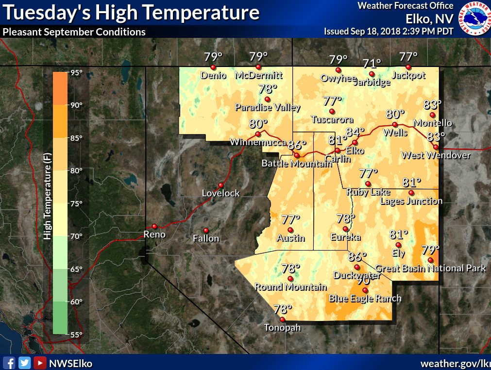 Pleasant conditions for tomorrow & Thursday. For most sites, the avg last 90 degree day is past. In fact, for our colder sites, this date occurred last month. As of today, we don't expect any 90s at these sites for the foreseeable future #nvwx
