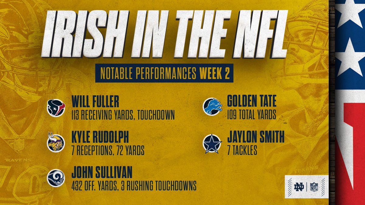 #IrishInTheNFL Week 2️⃣ #GoIrish ☘️