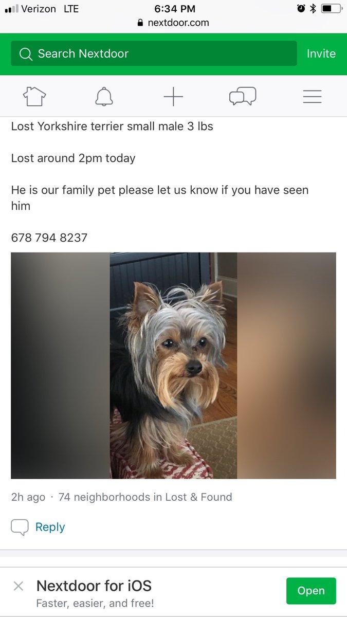 Let the power of Social Media bring our dog home!!!!! Please RT #Marietta #LostDog #Yorkie <br>http://pic.twitter.com/oDKVRspEfV