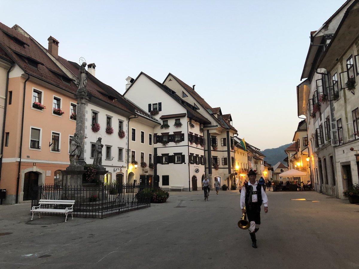 The tuba player is calling it a night. Skofja Loka, Slovenia 🇸🇮