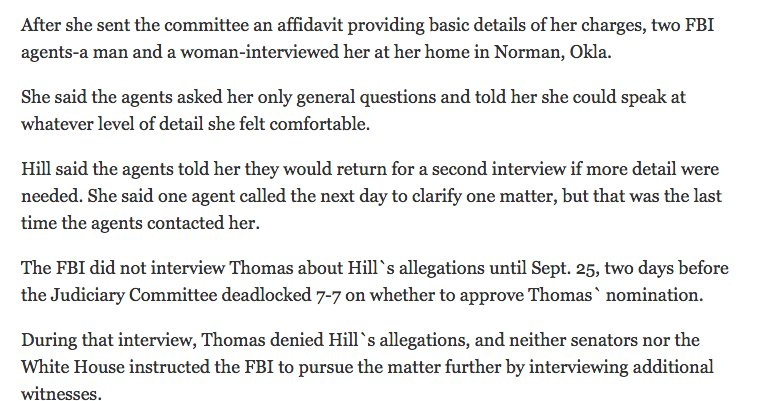 Anita Hill was interviewed by the FBI after sending the committee an affidavit. Thomas later testified that he learned about the allegations from an FBI agent. https://t.co/CaP7wtKi6D
