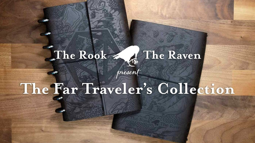 Tonights episode of @TalksMachina is #sponsored by @therooktheraven in celebration of their latest Kickstarter! Support the show and check out The Far Traveler's Collection: high quality gaming notebooks feat. cover art by @DevenRue! More info at therookandtheraven.com/criticalrole.
