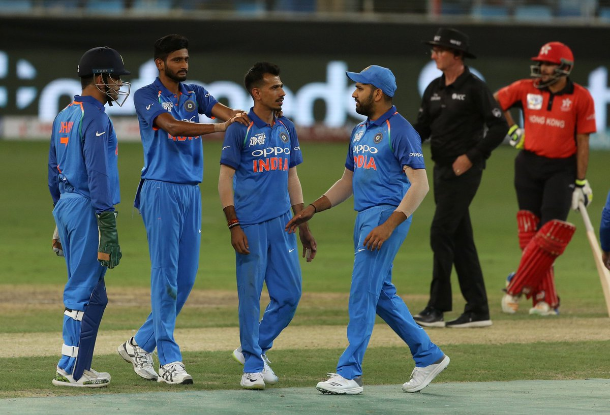What a start to the tournament as India (285/7) beat Hong Kong (259/8) by 26 runs in Group A match of the Asia Cup at Dubai. (Nizakat 92, Anshuman 73; Chahal 3/46, Khaleel 3/48) 🇮🇳🔥 #INDvHK #AsiaCup