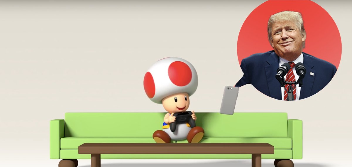 Dear internet, thanks for ruining Toad and Mario Kart by associating them with Donald Trump's junk https://t.co/xb1QybuNRw