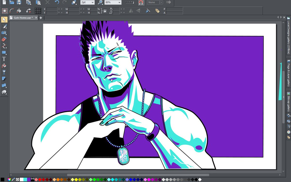 Still working on this #virtuaFighter #vectorart Goh piece.  If you&#39;re wondering, I had no reference for what&#39;s actually on his medallion, so I put some japanese characters on it.  If Google isn&#39;t lying, it should say &#39;Elite&#39; or &#39;Chosen Power&#39; or something to that extent.  :) <br>http://pic.twitter.com/2QyqUnbkTH