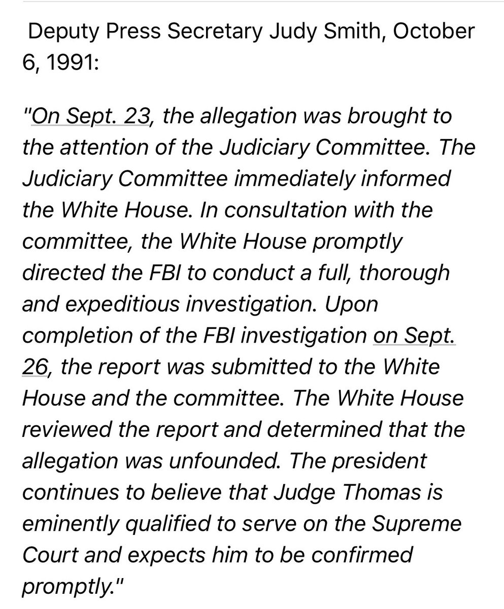 """Fact is, the FBI CAN investigate Ford's allegation, IF so ordered by President Trump, as President Bush ordered the FBI to investigate Anita Hill's allegation in 1991. In that case, as statement below shows, the WH then reviewed the report & concluded claim was """"unfounded""""."""