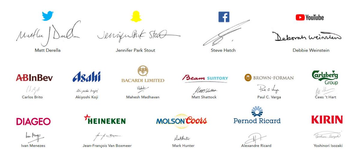 #StrongerTogether: proud to be part of this essential #partnership with leading #internet platforms @facebook @Snapchat @Twitter and @YouTube to bring new standards of responsibility to #DigitalMarketing of wine, beer and spirits brands.