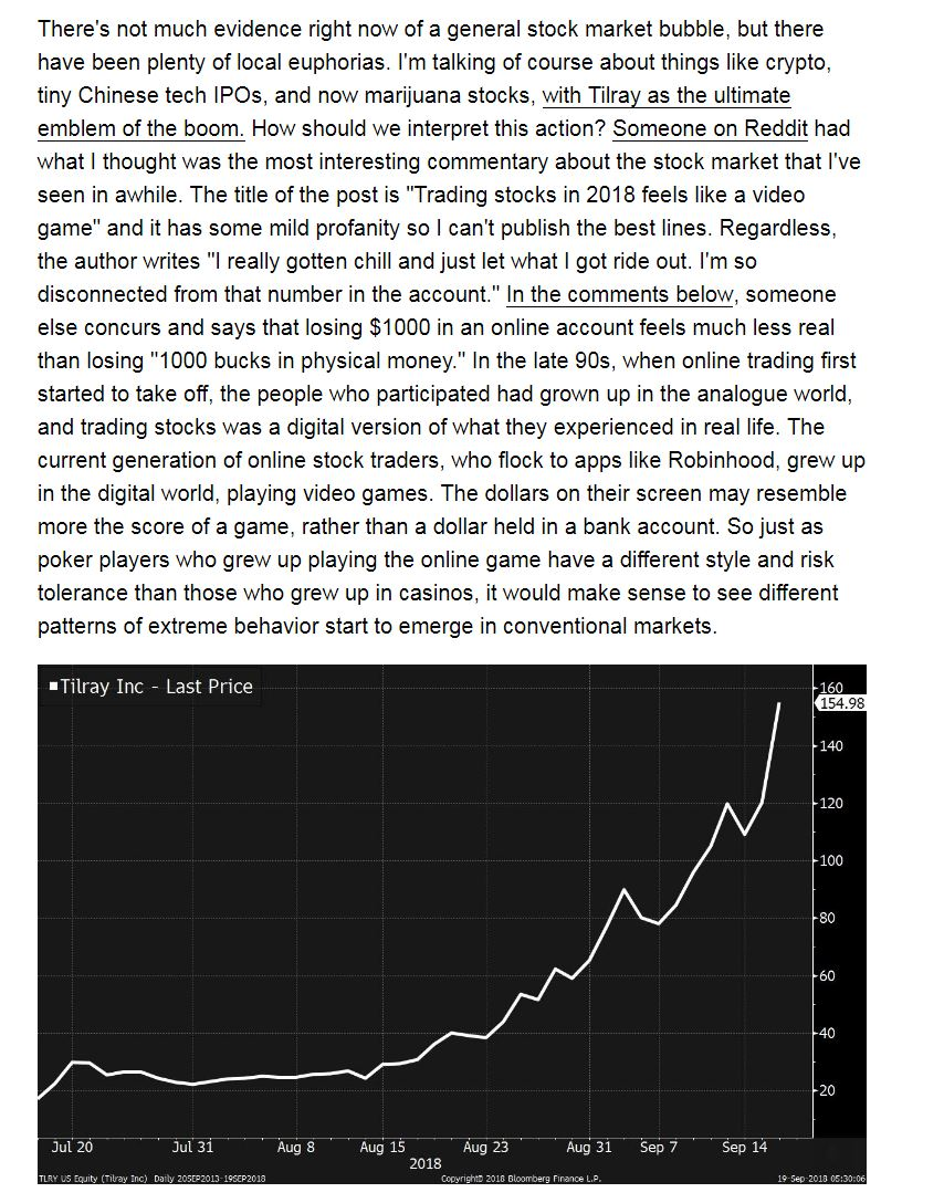 In today's @markets newsletter I wrote about crypto and Tilray and how the market is like a videogame these days. Subscribe here. https://t.co/e5TYtjIuOw