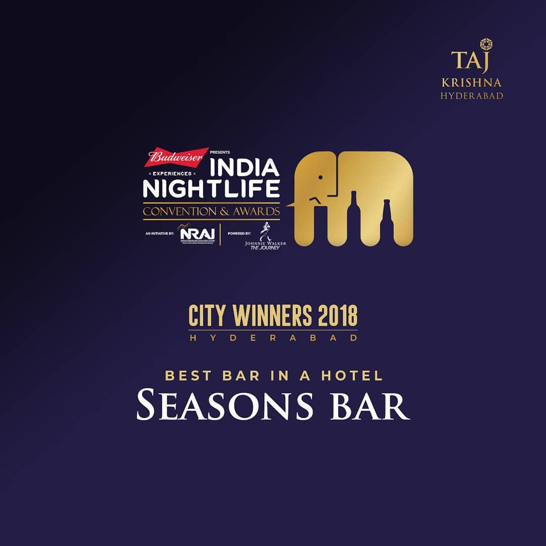 We are thrilled and we can't thank you enough. Seasons Bar is awarded the 'Best Bar in a Hotel, Hyderabad' by @INC_Awards  . . #Incaindia #awards #BestBarInAHotel #BestBarInAHotelHyderabad #TajKrishnaHyderabad #TajHyderabad #tajhotels #tajgroupofhotels #tajness