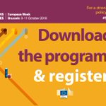 #EURegionsWeek has over 150 Sessions , how to choose between the Talks and Panels happening on the 8 - 11 October  🤔 ?  💡Less than a month left to look through the programme & register:  https://t.co/Cg1zi7IcSh #CohesionAlliance #Regions4Results