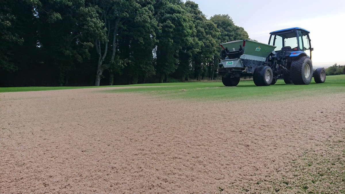 test Twitter Media - The aeration work is complete and the cores are nearly all lifted. So we are now out top dressing, trying to keep in front of the horrible weather coming our way. https://t.co/xTZ4IPtm22
