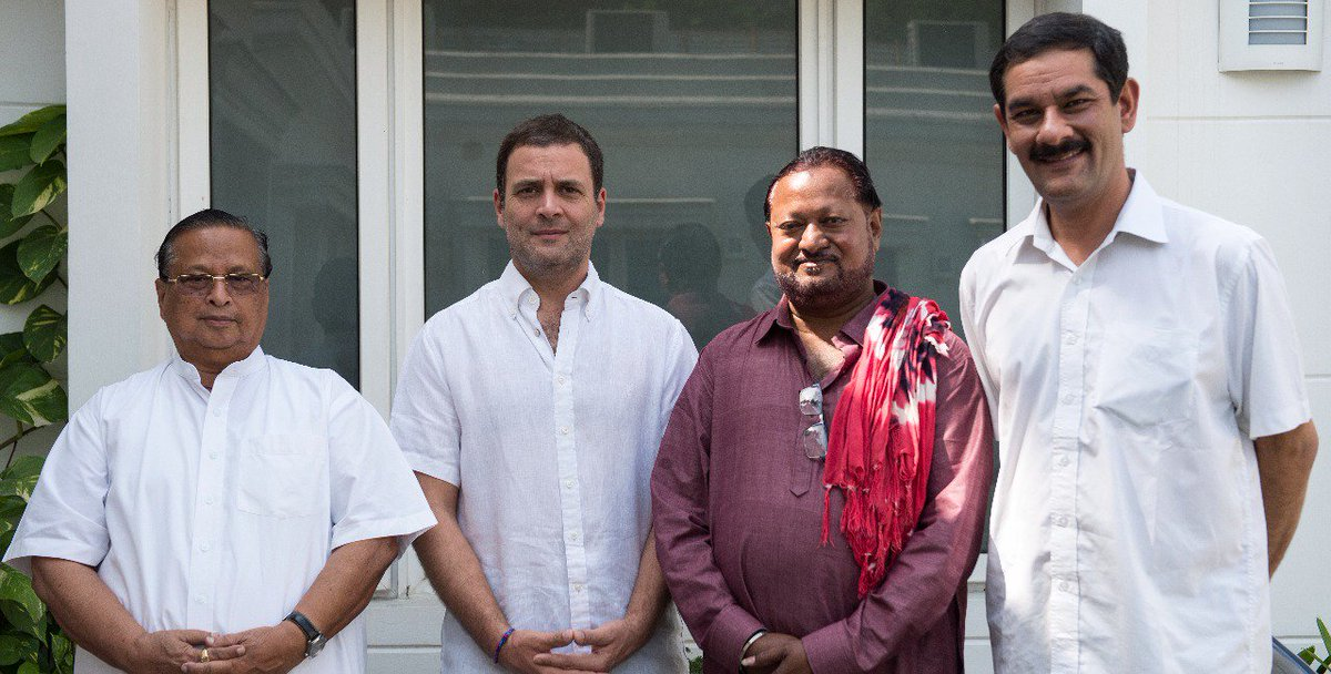 Congress President @RahulGandhi welcomed Shri George Tirkey, from Odisha into the Congress Party