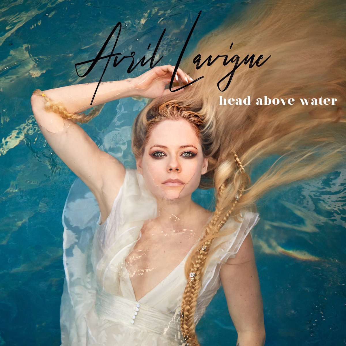 #AvrilLavigne shares cover art of her new single #HeadAboveWater coming out at Noon PST 💙 https://t.co/XNirXCRMz0