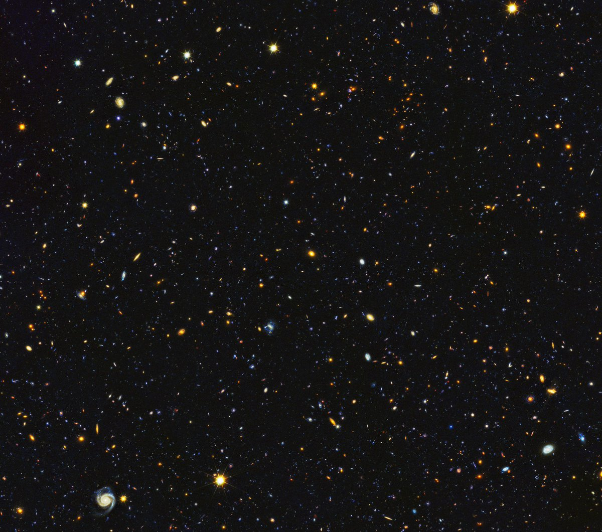 The Hubble Space Telescope is a time machine. Images like this reveal the earliest galaxies. This particular photo, captured in 2014, combines infrared data, which highlights the older galaxies, and visible light, which highlights the newer ones. https://t.co/87z1cDwL09