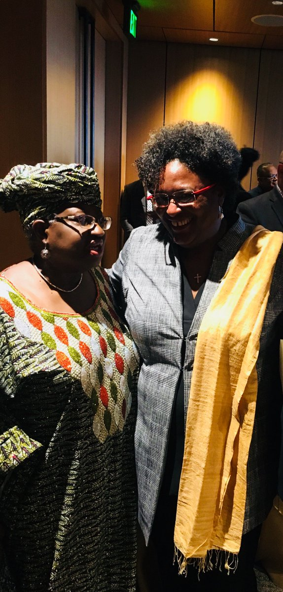 With HE Prime Minister Mia Amor Mottley QC of Barbados, discussing the economic problems of middle income small island states.