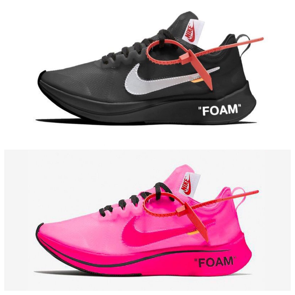 c10019a492 Both Off White x Nike Zoom Fly 'Black/White' & 'Tulip Pink' releasing next  month, October 15thpic.twitter.com/9XYyKI449Y