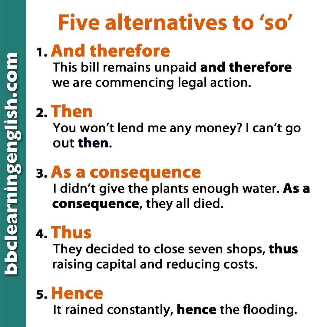 'So' is one of these words we find ourselves using all the time when linking sentences. Here are some #alternatives that will help you improve your vocabulary. Can you write a sentence using any of these? #conjunctions #grammar #learnenglish #bbclearningenglish #so #vocab #esl
