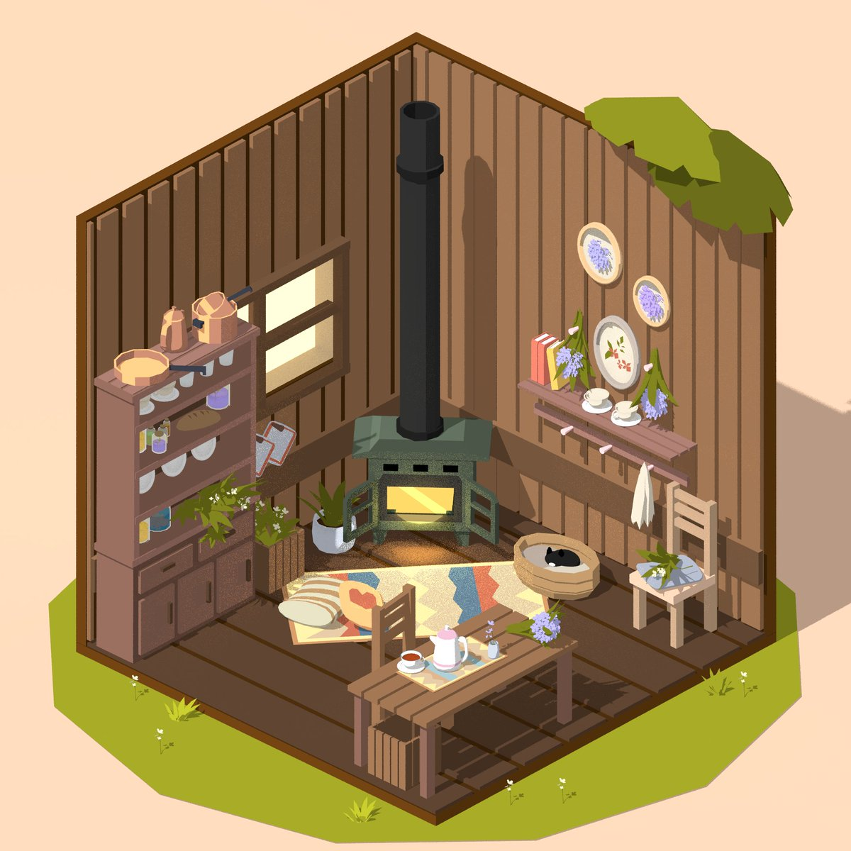 The most fun I&#39;ve had in a while, the details, the &#39;embroidery&#39;, took quite some time to poke everything out, my favourite are the bronze pans on the shelf because they are manually coloured &lt;3 #lowpoly #Blender3D #3dmodeling<br>http://pic.twitter.com/5btKGmDhUb