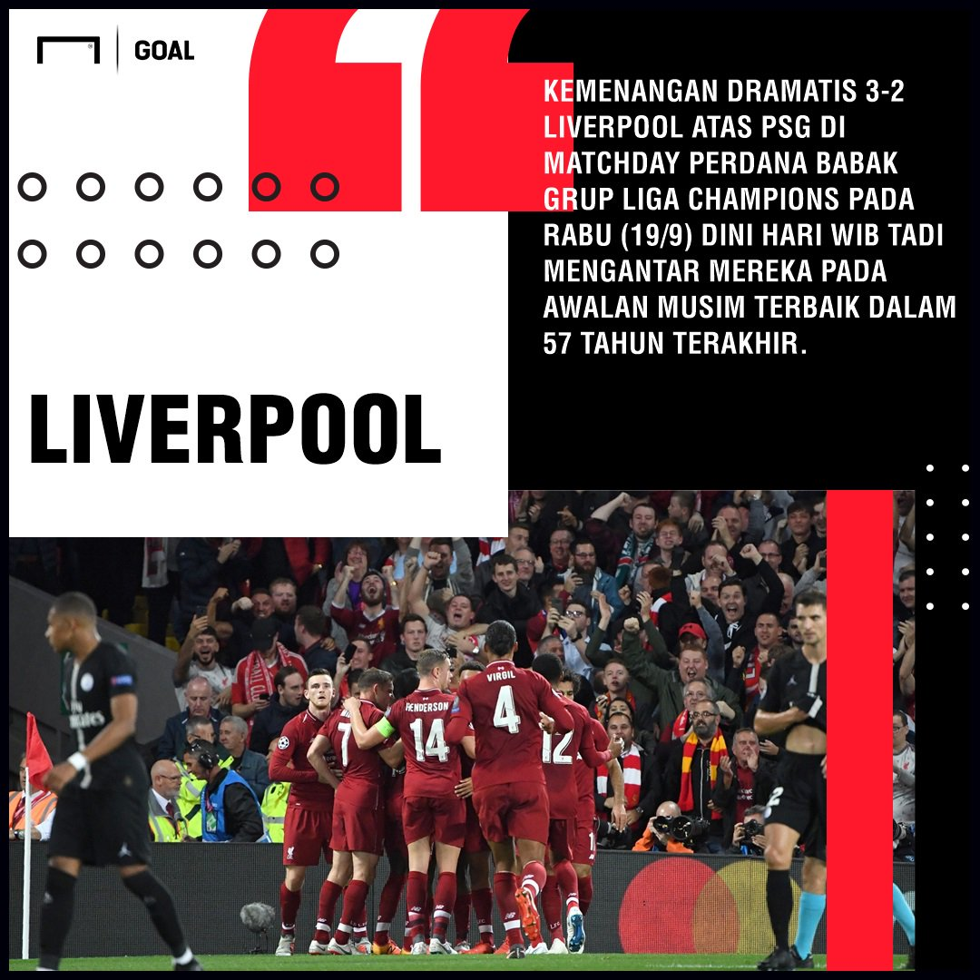 Kalahkan Paris Saint-Germain, Liverpool Catatkan Awalan Terbaik Sejak 1961!  https://t.co/O1kmc9yiZL https://t.co/zeyacFhFne