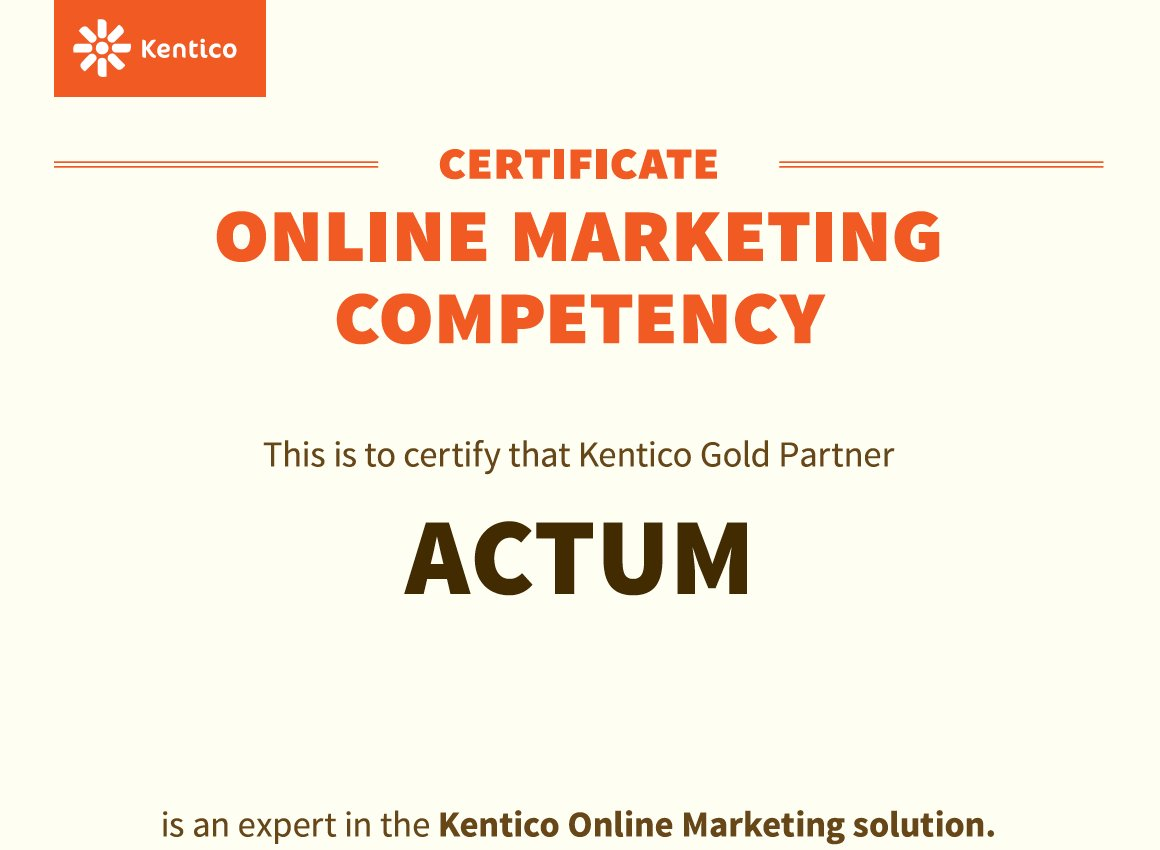 We are proud to tell you that we have received the Kentico Online Marketing Competency again. The certificate is awarded to Kentico Gold Partners, who have experience with the creation of Kentico EMS websites, utilizing a variety of marketing tools. #Kentico #ACTUMDigital https://t.co/XpLlhGwkhp