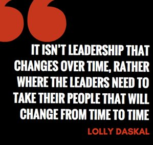 "It isn't leadership that changes over time, rather where the leaders need to take their people that will change from time to time. ~ ""The Leadership Gap"" via @LollyDaskal https://t.co/pVKqaI7YVf #TheLeadershipGap #Book #Leadership #Management #HR"