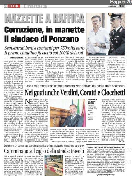 Corruzione, in manette il sindaco di #Ponzano. Nei guai anche #Verdini, #Coratti e #Ciocchetti. I miei articoli su @leggoit carta a pag. 20----> http://carta.leggo.it/Sfogliatore/?testata=LG&edizione=ROMA&data=20180919  - Ukustom