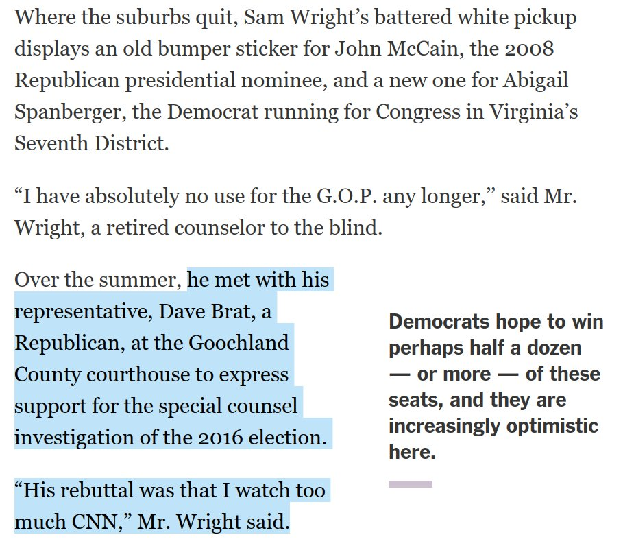 This is a great exchange.   A former Republican voter who now plans to vote Democratic met with his GOP Rep to express support for the Mueller probe.  The GOP Rep's answer, and the conclusion this voter draws from it, says a lot about the current moment.  https://t.co/voVuS1vUG2