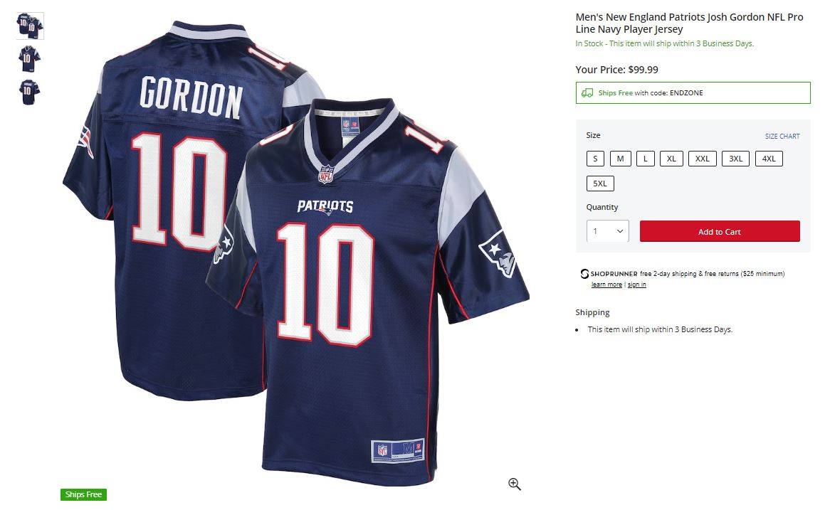 josh gordon jersey patriots