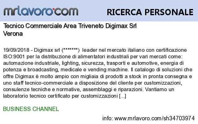 Nuove offerte di #lavoro #Verona:Tecnico Commerciale Area Triveneto Digimax SrlInfo:  https:// www.mrlavoro.com/tw34703974  - Ukustom
