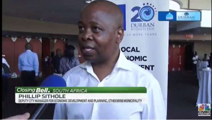 #DBF20: Phillip Sithole, Deputy city manager for economic development & planning at eThekwini Municipality @eThekwiniM says there are several cities from other African nations represented at the @DBNBusinessFair including Zimbabwe, Ghana, Nigeria and Mozambique. #DBFConversations Fotoğraf