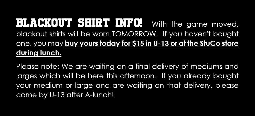 Blackout Shirt Info!!!