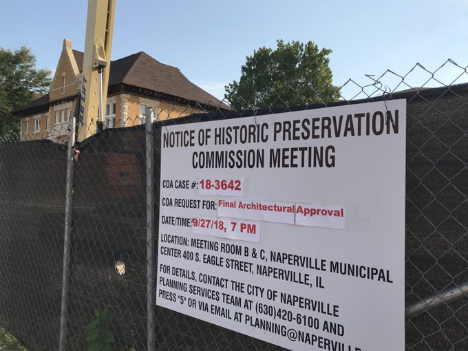 According to a public notice sign in front of the property at 110 S. Washington St., the city's Historic Preservation commission next week will consider approving final architectural plans. Photo